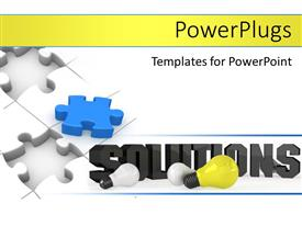 PowerPlugs: PowerPoint template with unsolved jigsaw puzzle with 3D word SOLUTIONS and light bulbs