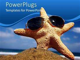 PowerPoint template displaying upright starfish in sand wearing sunglasses