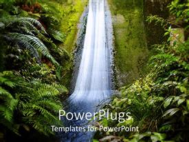 PowerPoint template displaying upside view of waterfall through tropical trees and plants in jungle setting