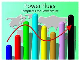 PowerPoint template displaying upward trend red arrow with bar graph and stylized world map