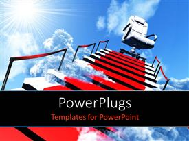 PowerPlugs: PowerPoint template with upwards stairs and modern armchair in the end with sun shining in sky