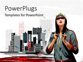 PowerPoint template displaying urban city with skyscrapers with girl in tracksuit and face cap
