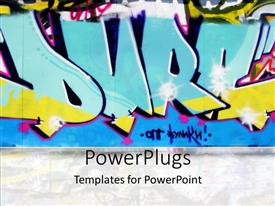 PowerPlugs: PowerPoint template with urban graffiti wall in blue, yellow and pink
