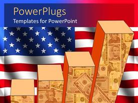 PowerPoint template displaying uSA economy theme with currency bills on bar graph, American flag background