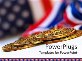 Template enhanced with uSA flag background with four gold medals in front, US financial power