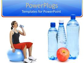 PowerPoint template displaying the use of water and the fresh fruits to live a healthy life