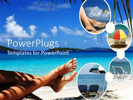 PowerPoint template displaying vacation tropical theme with woman's fee tin sand on beach, umbrellas and lounge chairs