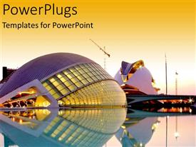 PowerPlugs: PowerPoint template with valencia science and the arts museum whereabouts at dusk