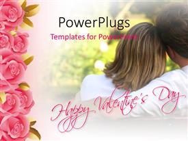 PowerPoint template displaying valentine depiction with couple having fun in park with pink roses