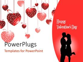 PowerPlugs: PowerPoint template with valentine depiction with love shaped ornaments and couple kissing