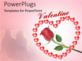 PowerPlugs: PowerPoint template with valentine depiction with rose flower and heart shaped symbols