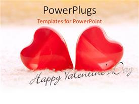 PowerPlugs: PowerPoint template with valentine depiction with two large red colored heart shapes on towel
