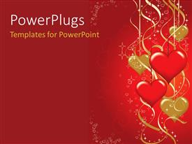 PowerPoint template displaying valentines background with hearts shapes hanging in red and golden
