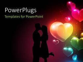 PowerPlugs: PowerPoint template with a couple with a number of hearts