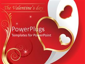 PowerPlugs: PowerPoint template with valentine's Day theme with The Valentine's day words hearts and golden swirled lines on red background