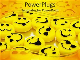 PowerPlugs: PowerPoint template with variation of yellow smiley faces yellow background