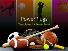 PowerPlugs: PowerPoint template with variety of sports equipment on a black background including an American football a soccer ball