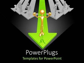 PowerPlugs: PowerPoint template with various 3D figures standing on arrows representing the concept of leadership