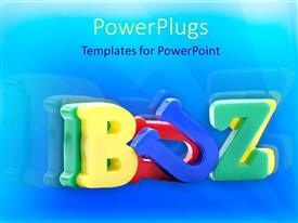 PowerPlugs: PowerPoint template with various alphabets in different colors and bluish background