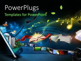 PowerPlugs: PowerPoint template with various applications and objects like music, headphones, film strip, telephone, books emerging out of a smart phone