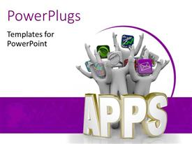 PowerPlugs: PowerPoint template with various apps with white and purple background and place for text