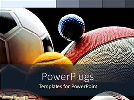 PowerPlugs: PowerPoint template with various balls, American football, basketball, soccer ball, tennis ball, baseball ball, and golf ball on black background