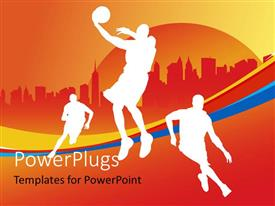 PowerPlugs: PowerPoint template with various basket ball players with orange background