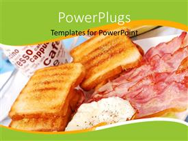 PowerPlugs: PowerPoint template with various bread pieces with meat and a cup of coffee