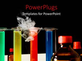 PowerPoint template displaying various chemicals of different colors with blackish background