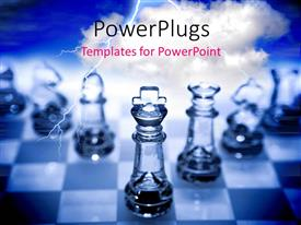 PowerPlugs: PowerPoint template with various chess pieces made of glass with bluish background