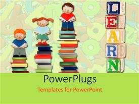 PowerPlugs: PowerPoint template with various children standing on books with alphabets in the background