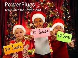 PowerPoint template displaying various children waiting for the Christmas