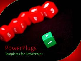 PowerPlugs: PowerPoint template with various colored dices with blackish background
