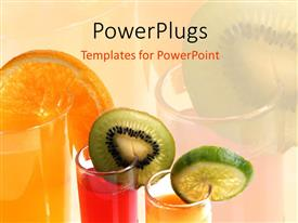 PowerPlugs: PowerPoint template with various colored juices with their reflection in the background