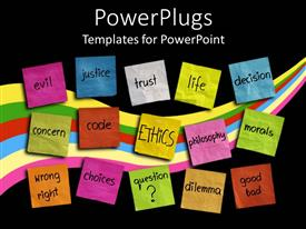 PowerPlugs: PowerPoint template with various colored sticky notes with words related to ethics and life