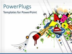 PowerPlugs: PowerPoint template with various colorful alphabets with white background