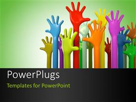 PowerPlugs: PowerPoint template with various colors of hands reaching up on green background
