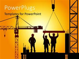 PowerPoint template displaying various construction worker during work time
