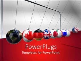 PowerPoint template displaying various country flags in from of balls hung with a string