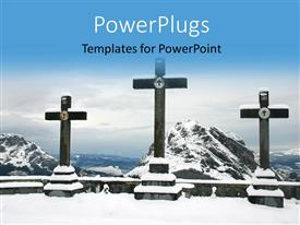 PowerPlugs: PowerPoint template with various crosses on top of amountain