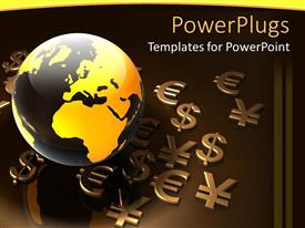 PowerPlugs: PowerPoint template with various currency symbols being placed along with the globe