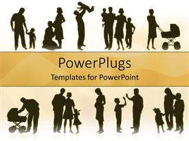 PowerPlugs: PowerPoint template with various families showing pregnancy and infants in baby trolleys