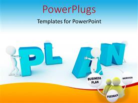 PowerPlugs: PowerPoint template with various figures arranging the alphabets with bluish background
