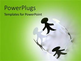 PowerPoint template displaying various figures with a greenish background
