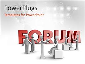 PowerPlugs: PowerPoint template with various figures talking to each other with the map in the background