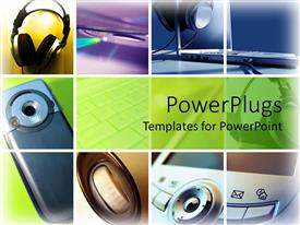 PowerPlugs: PowerPoint template with various forms of technology usage shown in the slides including headphones and mobiles