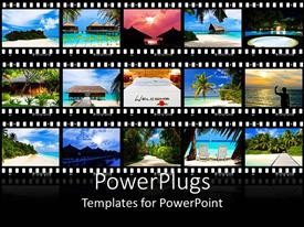 PowerPoint template displaying various frames of beautiful places combined to make a welcoming frame