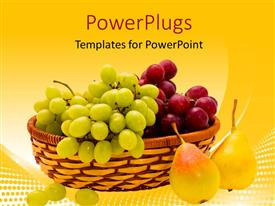PowerPoint template displaying various fruits inside a bucket with yellowish background