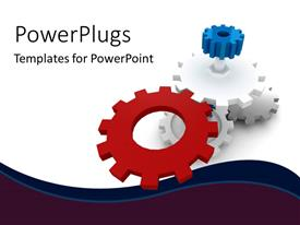 PowerPoint template displaying various gears with white background and place for text