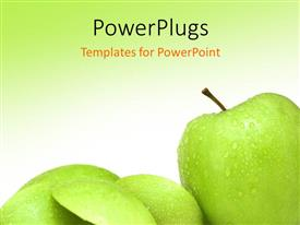 PowerPlugs: PowerPoint template with various green apples with greenish background and place for text